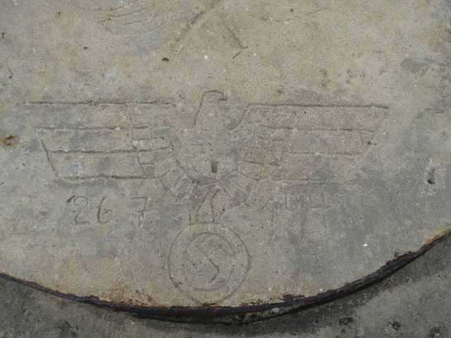 German carving in concrete bunker