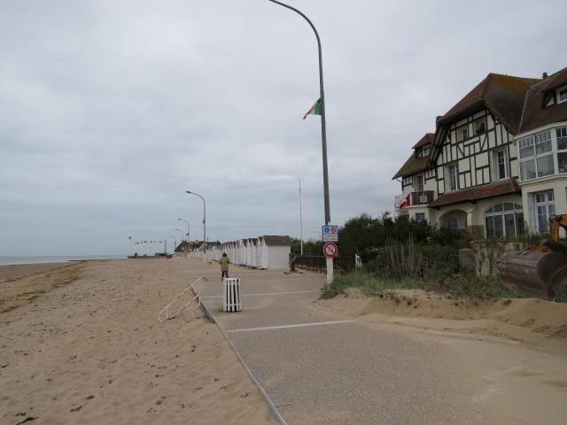 Sand everywhere after the storms.  The building in this photo is one seen in many famous D-Day photographs
