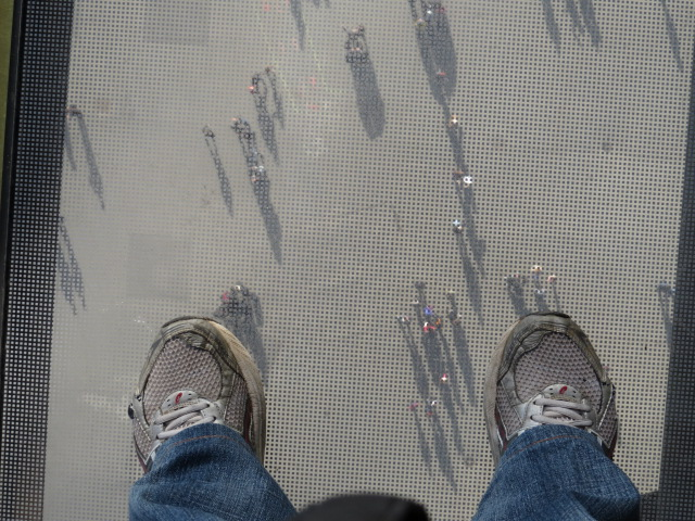 Glass platform on the first level of the Eiffel Tower