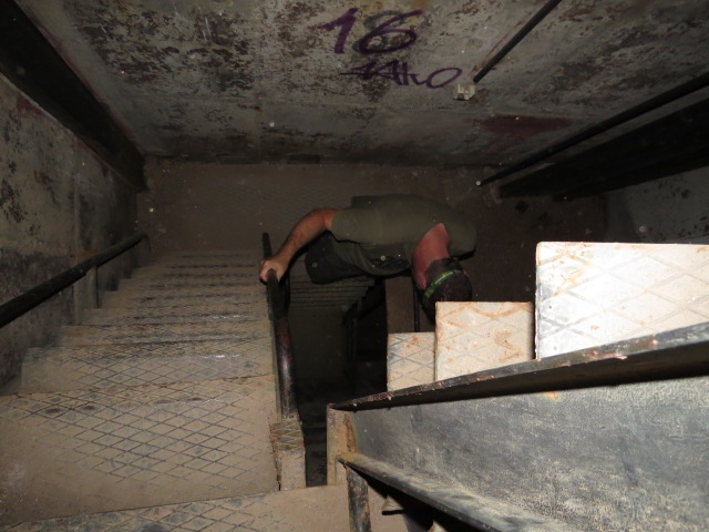 Climbing the dodgy staircase/ladder