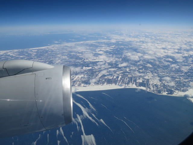Flying over frozen Nova Scotia