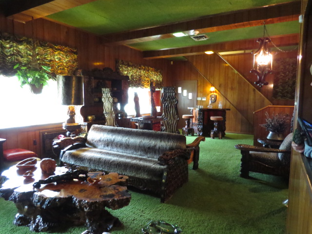 The Jungle Room with its plush carpet ceiling