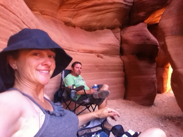 Cooling off in our own private slot canyon.