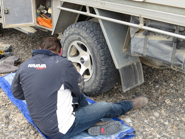 Justin fixing a puncture