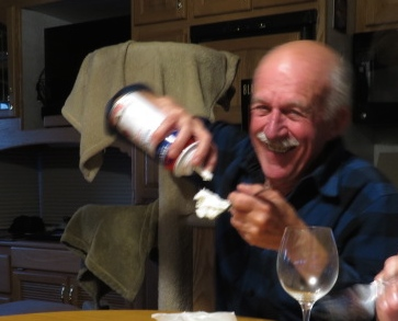 Ron opted to skip the pumpkin pie and go straight for the aerosol cream!!!