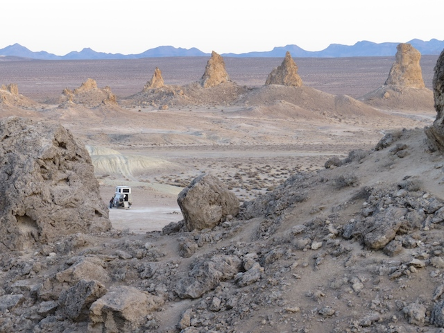 Our camp at Trona Pinnacles - not an ape in sight, except for Justin
