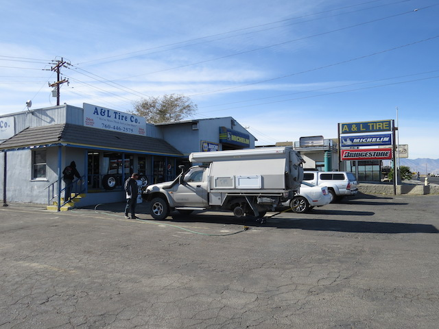 Getting our tyre repaired in Ridgecrest