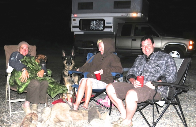 Canadians Jason and Michelle and dogs Rookie and big sook Diesel who really doesn't like camping