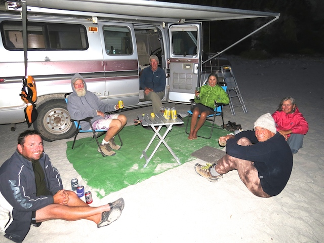 Others camped at San Basilio - Mike, Lance, Celine, Jeannie and Bruce