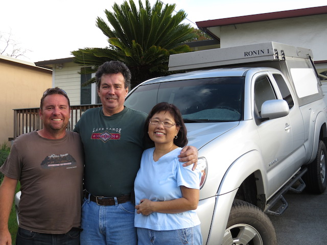 Justin, Michael and Wendy with their nicely set up Tacoma (Hilux)