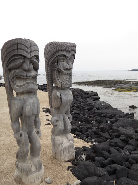 Totems at Pu'uhonua O Honaunau National Historical Park