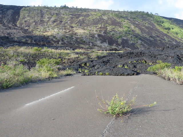 Road consumed by lava