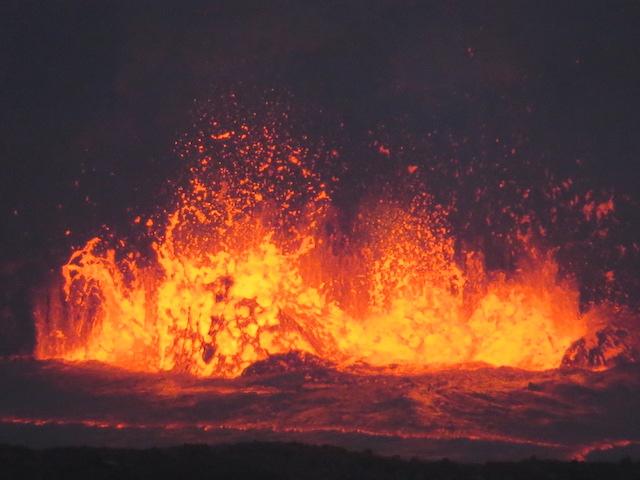 Erupting lava