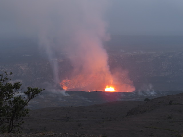 Lava Lake as evening descends at the Jaggar Museum Overlook