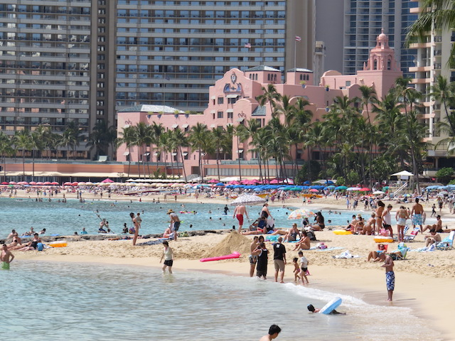 "Waikiki Beach and the iconic ""Royal Hawaiian Hotel"""