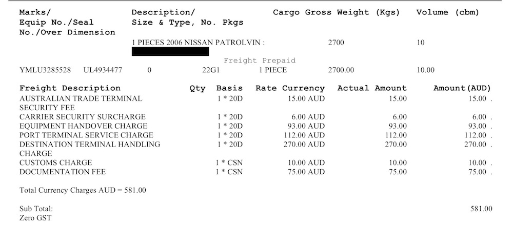 Invoice for inbound handling from the shipping company