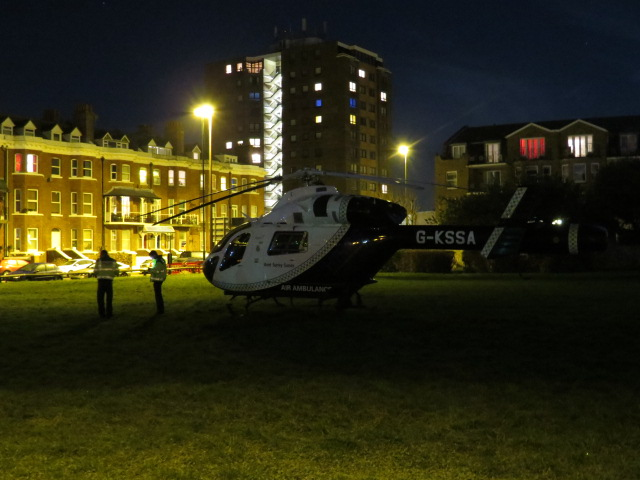 Air Ambulance opposite our accommodation