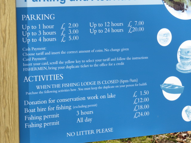Pay and Display! Check out the price for fishing!