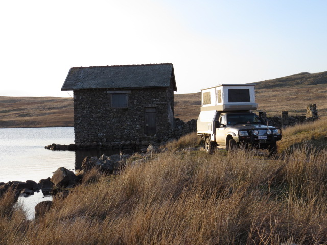 Our camp for the night at a private fishing lake