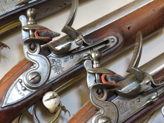 Flint lock pistols with flint in place!