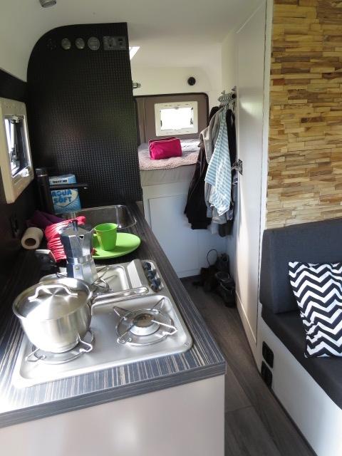 Inside their camper