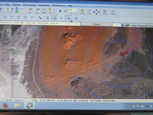 Satellite imagery for navigation around the back of the dunes