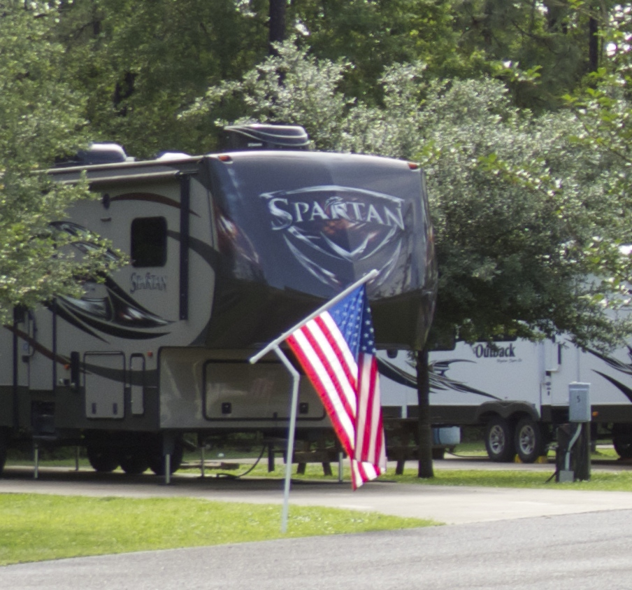 Even the mobile homes have flags!