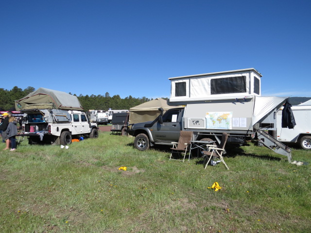 All set up - a2a expedition with their Land Rover 130 and roof top tent