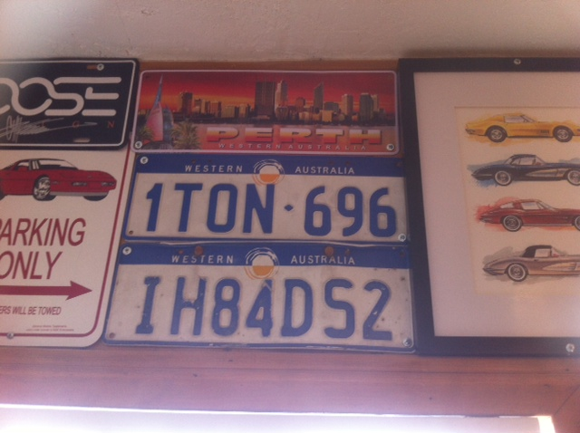 Western Australian Licence Plates on the wall