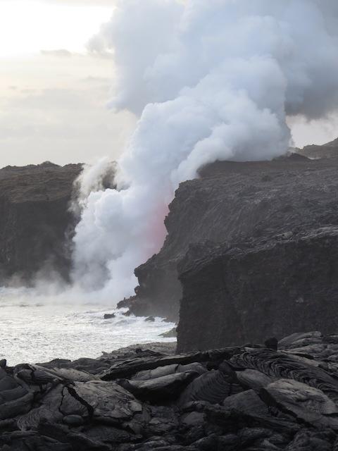 Liquid Lava Meets Ocean